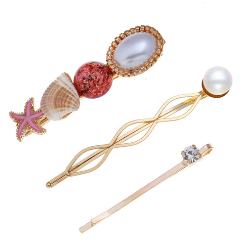 Boho Hair Jewelry Barrettes Stick Big Shell Starfish Gold Pins Simulated Pearl