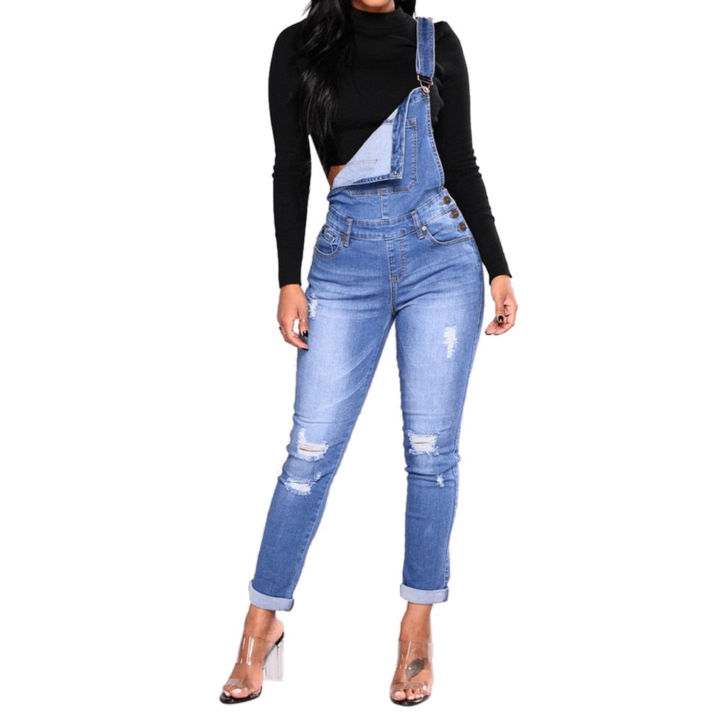 Denim Overalls  Blue Black Slim Ripped Casual Straps Rompers