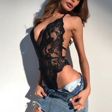 Lace Sexy Body Suits Erotic Lingerie Halter Rompers Bodysuits