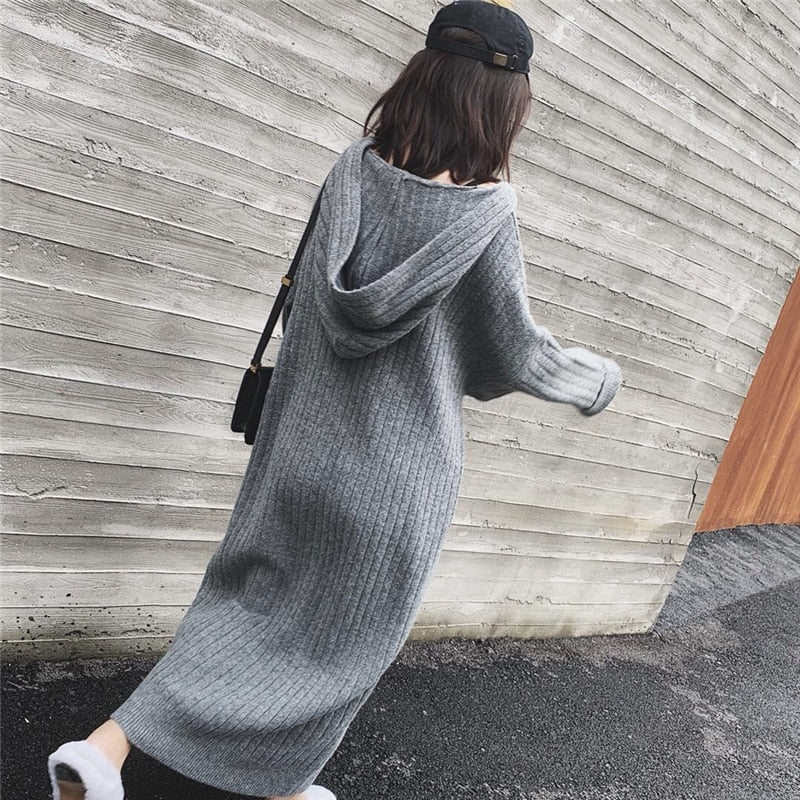oversize thick long Coarse warm casual loose knit straight Hooded sweater dress