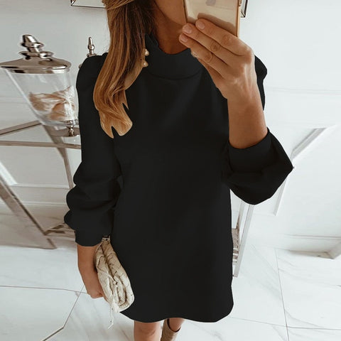 Office puff Long Sleeve mini casual heart sequins Party Dresses