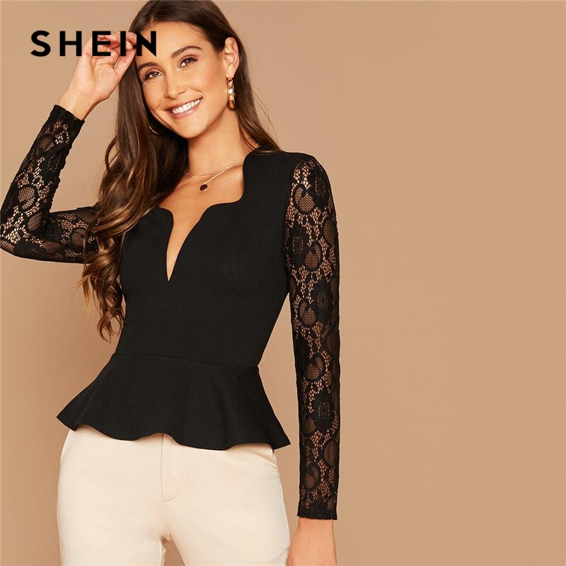 Black Notch Neck Sheer Lace Sleeve Peplum Top Blouses