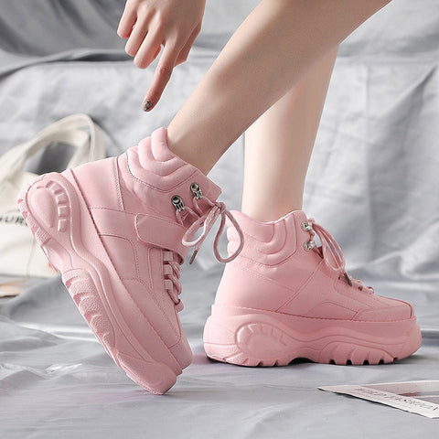 Platform Pink Chunky Heel Wedges Dad White Height Increasing Sports Shoes