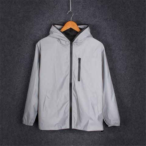 Hip Hop Reflective Noctilucent Hooded New Running Sporting Light Jackets
