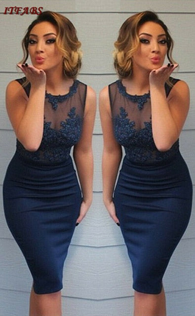 Blue Lace New Style Package Hip Bodycon Dresses