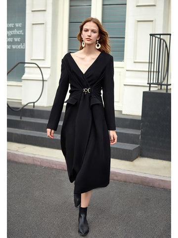 Black Pleated Woolen New V-collar Long Sleeve Loose Fit Fashion Dress