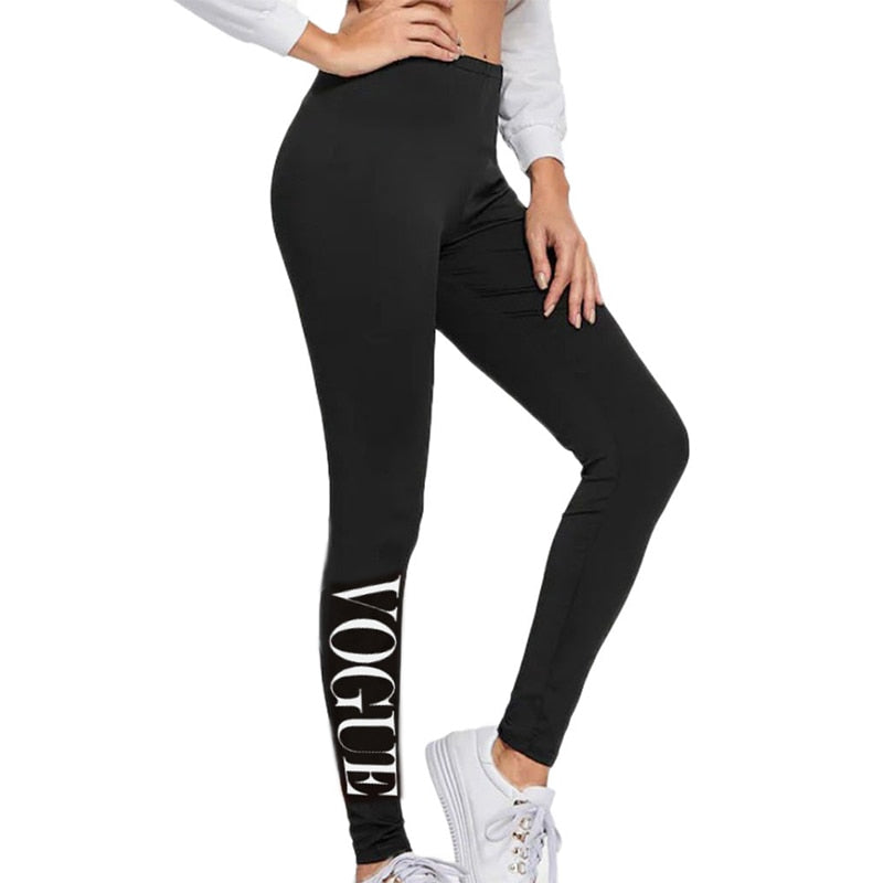 Sexy Black High Waist Fitness Workout printing length Legins Pants