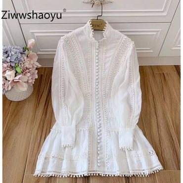Manual Embroidery Single-Breasted Lantern Sleeve White Cotton Party Dress