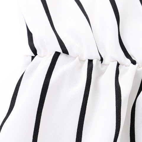 Short Sleeve Striped Loose Baggy Trousers Overalls Pants Romper Jumpsuit Femme