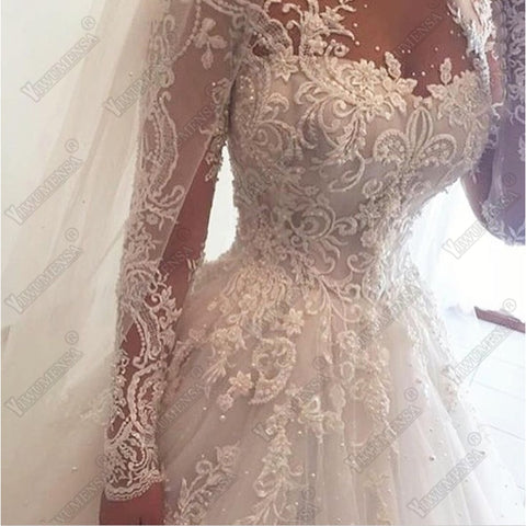 Luxury Ball Gown Beaded Lace Bridal Gown Long Sleeves Bride Dresses