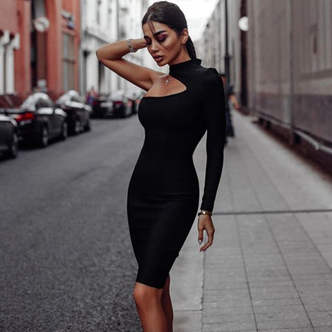 Sexy Cut Out Black Bandage Long Seeve Bodycon Club Party Dress