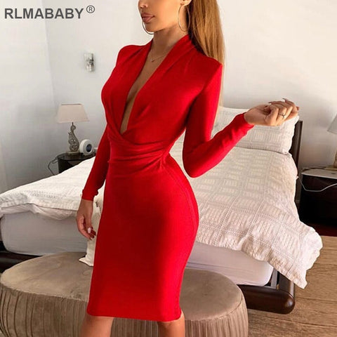 Deep V Neck Long Sleeve Sexy Black Skinny Ruched Bodycon Midi Dress