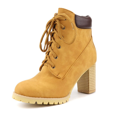 Boot Female High Heels Ladies Lace Up Round Toe Shoes