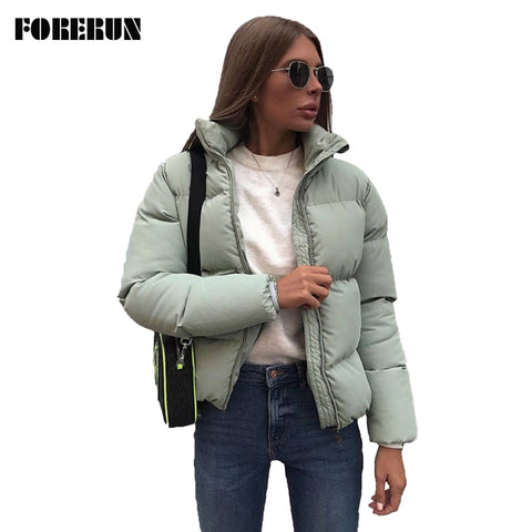 Colors Oversized Bubble Puffer Coat Stand Collar Mint Green Jackets