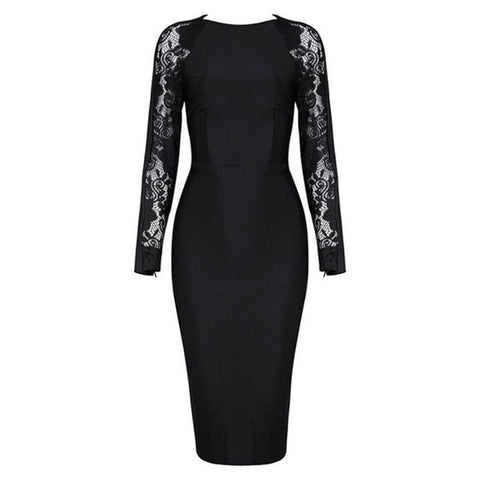 Black Lace Long Sleeve Elegant Vestidos Celebrity Party Night Sexy Bandage Midi Dress