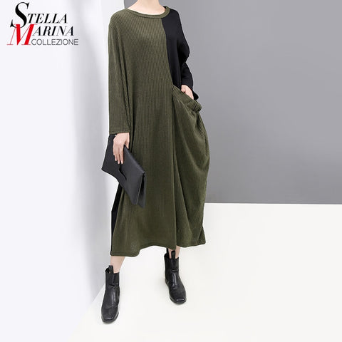 Long Sleeve Green Patchwork Plus Size Stretched Casual Holiday Dress