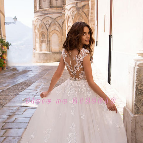 Appliques Lace Mermaid Beading Crystal Removable Wedding Dress