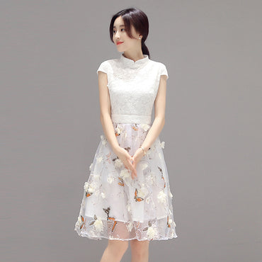 New Embroidery Organ Mesh Floral Print Flare Stand Collar Dress