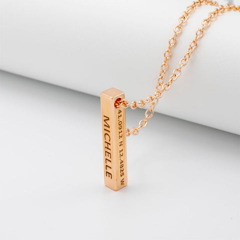 Custom Personalized Vertical Gold Bar Engraved Date Name Pendant Necklace