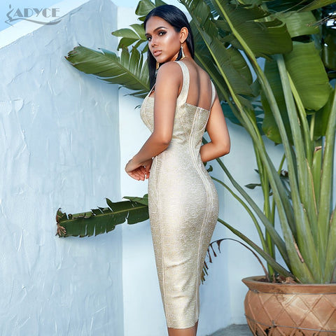Bodycon Bandage Gold Spaghetti Strap Club Dress