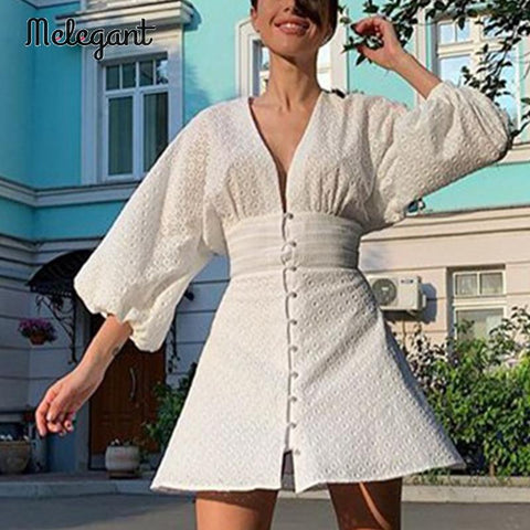 Melegant elegant white sleeve V neck mini dress