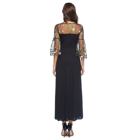 Embroidery Floral Dress Feminine Lace Embroidery Stitching Long Half Sleeve Dresses