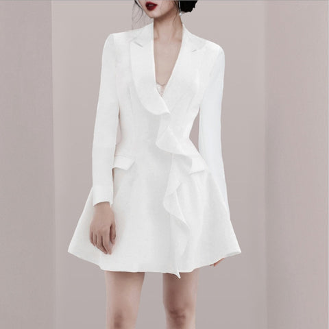 Ruffles Patchwork V-neck Collar A-line Female High Waist Dress