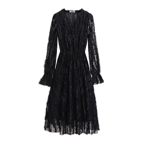 Lace Casual Long Sleeve Office Lady Big Larges Size Dress