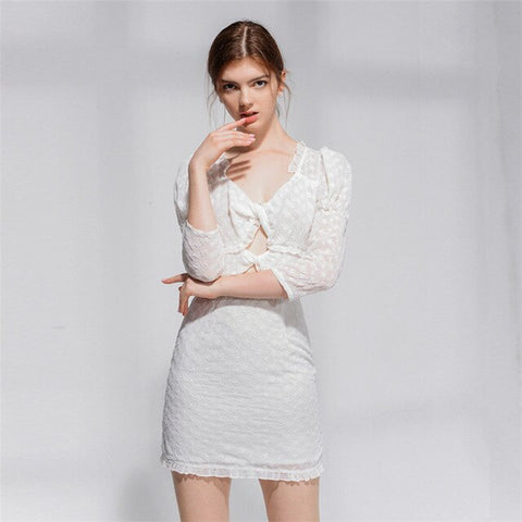 Casual White sexy Open chest Mini Puff Sleeve Flower embroidery bandage dress