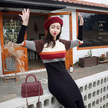 Stripe Knit Sweater High Waist Sweaters Bodycon Dresses
