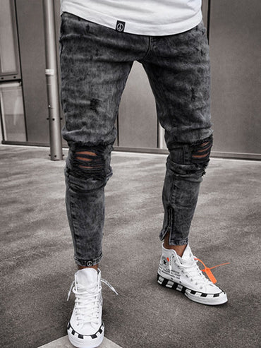Broken Hole Clothes Hip Hop Sweatpants Skinny Motorcycle Denim Pants Jeans
