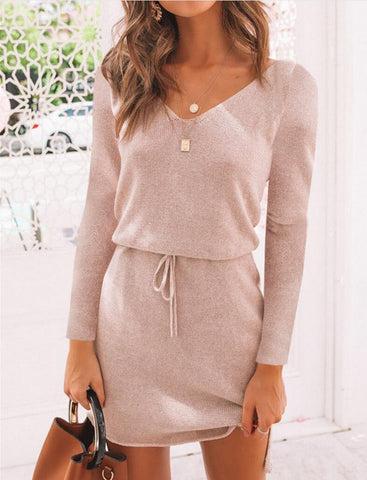 Knitted V-neck Casual Sweater Long Sleeve Warm Mini Dress