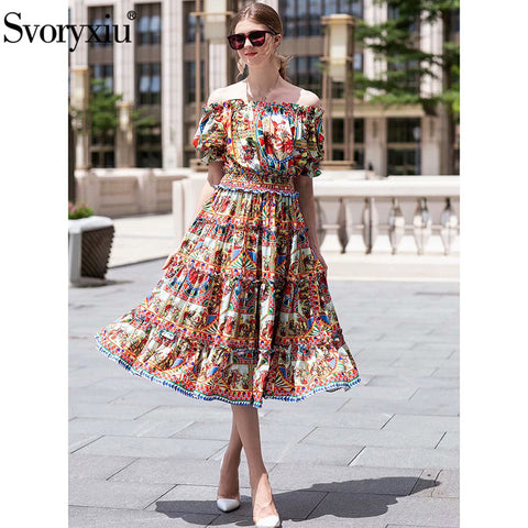 Slash Neck Midi Brand Classic Pattern Printed Beach Holiday Casual Dress