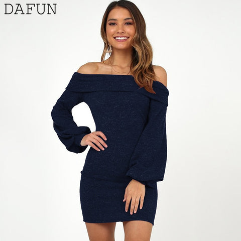 Sexy Off Shoulder Party Long Sleeve Mini Dress