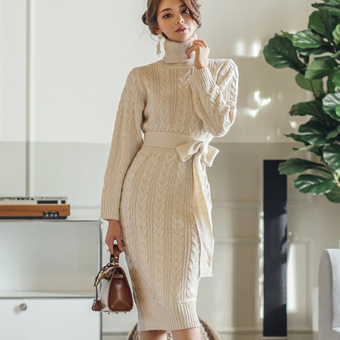 Knitted Sweaters High Waist Turtleneck Sweater Dresses
