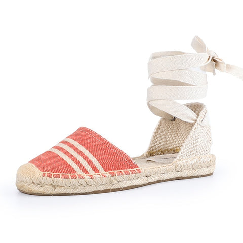 Espadrilles Rubber Sole Flatform Cross-strap Casual Lace-up Gingham Sandals