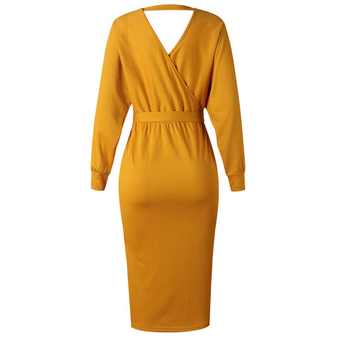 Wrap Belted Tunic Midi Long Sleeve Double V Neck Casual Dresses