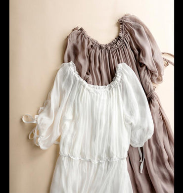 Solid Khaki Beach Long White Fairy Holiday High Quality Dress