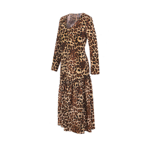 Casual Vintage Leopard Print Ladies Long Sleeve Maxi Dress