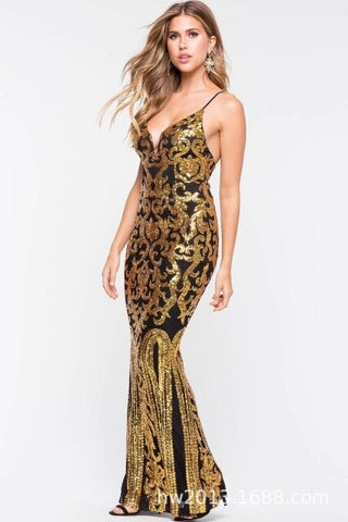 condole belt perspective sequins color posed long backless dress