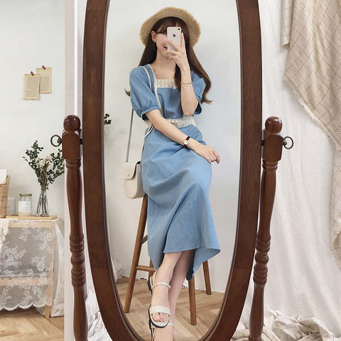 Boho Party  Cotton Linen Female Vintage Blue Short Sleeve Dresses