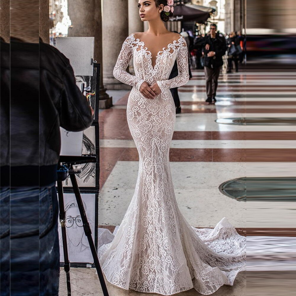 New Fashion Long Sleeve Mermaid Open Back Bridal Wedding Dress