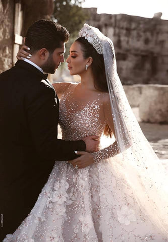 Luxury Dubai Arabic Ball Gown Heavy Beaded Long Sleeve Bridal Wedding Dresses