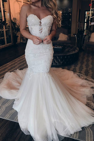 Sexy Sweetheart Lace Mermaid Appliques Tulle Court Train Bride Wedding Dresses