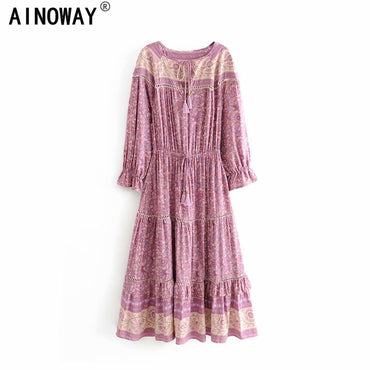 Boho Floral print tassel ruffles sleeve long Bohemian maxi dress