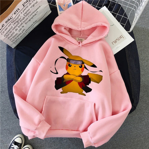 Funny Pokemon Pikachu Hoodie Pika Kawaii Sweatshirt Female