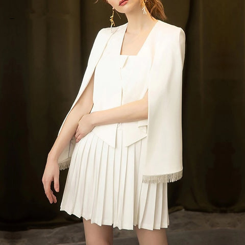 Suit Set Cape Blazer and Pleated Runway Designer Luxury Brand Elegant Dress