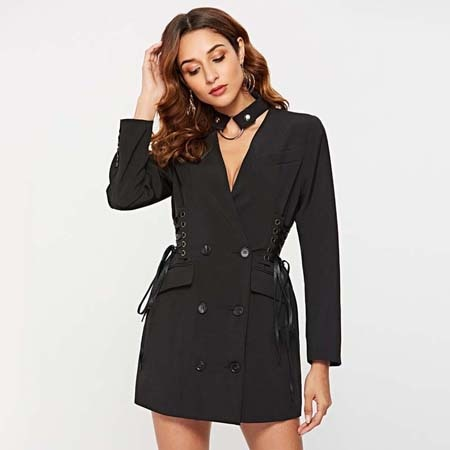 Fashion V Neck Slim Double Breasted Long Sleeve Blazer Dresses