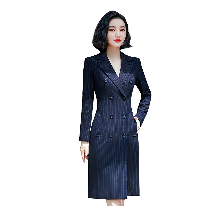 Blue Stripe Double Breasted Full Sleeve Midi  Blazer Dresses