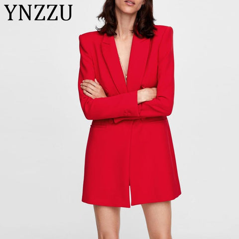 Elegant Solid Red Black Double Breasted Slim Short Blazer Dresses